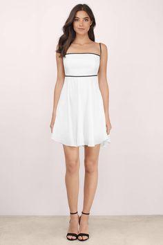 Naomi White & Black Skater Dress
