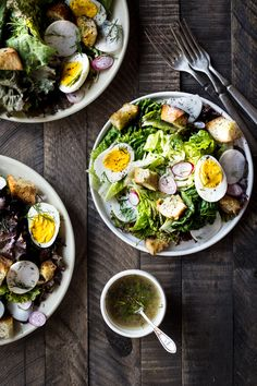 spring salad with garlic scape herbed croutons