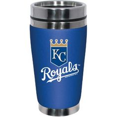 MLB Kansas City Royals Silver Stainless Steel Neoprene 16-Ounce Travel Tumbler