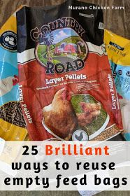 25 ways to reuse empty feed bags. Chickens and other livestock eat a lot of feed! Here's how to reuse the empty bags instead of throwing them away. Feed Bag Tote, Feed Sack Bags, Plastic Spoons, Plastic Bags, Recycled Fashion, Recycled Clothing, Soda Can Art, Dress Card, Chicken Feed