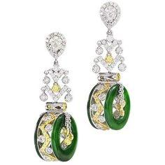 Diamond, Colored Diamond, and Jadeite Earrings