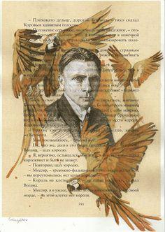 """Mikhail Bulgakov"" by Oleksii Gnievyshev, pencil and tea, acrylic Creativity, Pencil, Tea, Sketches, Movie Posters, Movies, Drawing Pics, High Tea, Films"