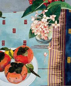 Persimmons. Cressida Campbell. woodblock painting from her book http://www.cressidacampbell.com/index.html
