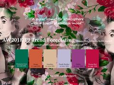 Autumn Winter 2018/2019 trend forecasting is A TREND/COLOR Guide that offer seasonal inspiration & key color direction for Women/Men's Fashion, Sport & Intimate Apparel