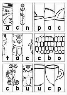 Cut out the boxes and arrange them in correct order to reveal the CVC picture. Kindergarten Goals, Kindergarten Reading, Vowel Worksheets, Kindergarten Worksheets, Scramble Words, Alphabet Phonics, Classroom Signs, Jolly Phonics, Word Puzzles