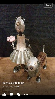 Girl & dog found object sculpture robot by MichaelVivona on Etsy by aurora Recycled Robot, Recycled Art, Repurposed, Metal Yard Art, Scrap Metal Art, Found Object Art, Found Art, Metal Robot, Silverware Art