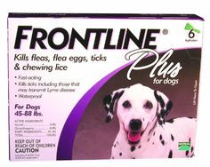 Frontline Plus Flea and Tick Control for Dogs, 45-88 lbs, 6 MO SUPPLY - Frontline products are highly recommended by veterinarians for flea and tick control for dogs. For dog owners who want long-lasting, fast-acting flea, tick and chewing lice control, Frontline Plus guarantees control on dogs aged 8 weeks and older. You only have to apply Frontline Plus once a mont...