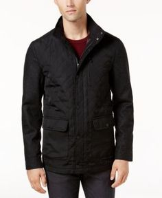 Ryan Seacrest Distinction Men's Quilted Mix-Media Jacket, Created for Macy's - Grey/Black XXL