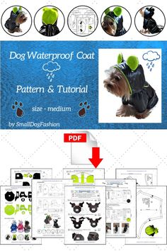 Dog clothes sewing patterns PDF, 33 step-by-step layout, cutting, and sewing instructions. Sewing level: experienced beginner, experienced. For small dog breeds & puppies like Yorkshire Terrier, Poodle, Chihuahua, Pekinese, Cats. #sewingproject #smalldogfashion #sewingpattern #dogclothesdiy #patterndogclothes #patternshop #forsmalldog Dog Coat Pattern, Coat Pattern Sewing, Coat Patterns, Jacket Pattern, Sewing Patterns, Small Dog Clothes Patterns, Clothing Patterns, Small Dog Coats, Small Dogs