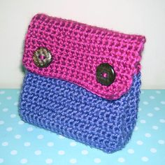 crochet pouch | Please excuse the colours (chosen by daughter, who immediately claimed ...