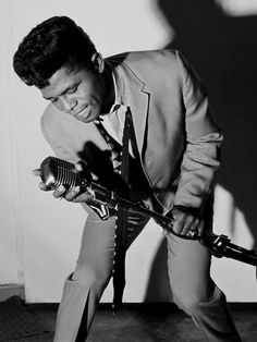 Vintage microphone - James Brown with a Shure 55. #shure #jamesbrown #soul #vintagemicrophone