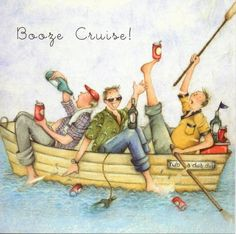 Booze Cruise Drinking Male Birthday Card Berni Parker Designs - £2.95 with FREE UK Delivery!