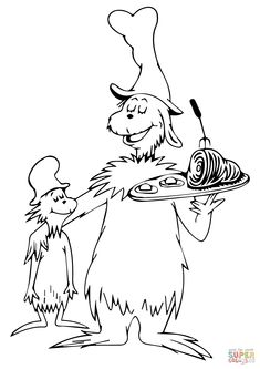 Green eggs and ham coloring page