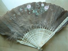 Antique Fan Ivory Handle Feathers Hand