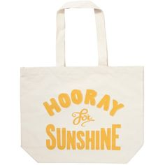 Alphabet Bags Big Canvas Tote Bag, Hooray For Sunshine ($13) ❤ liked on Polyvore featuring bags, handbags, tote bags, canvas shopping tote, handbag tote, white canvas tote, white tote and man bag