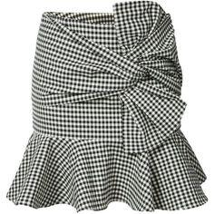 Veronica Beard gingham ruffle miniskirt ($395) ❤ liked on Polyvore featuring skirts, mini skirts, black, frill skirt, gingham skirt, flouncy skirt, mini skirt and short ruffle skirt