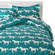 Makes me think of my niece!   @claudianowicki   Anorak Horses Duvet Set - Blue/White