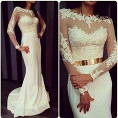AHP026 Ivory Mermaid Prom Dresses with long Sleeves,Sweep Train Gold Sash Mermaid Wedding Dresses