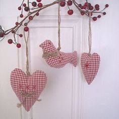 Three Gingham Decorations - These are for sale finished, but it's good inspiration.