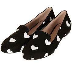 SWOON Heart Print Slippers (£28) ❤ liked on Polyvore featuring shoes, slippers, flats and topshop