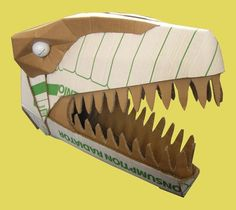 Dinosaurs - Welcome to Wild Card Creations the home of fabulous cardboard dinosaur helmets Cardboard Costume, Cardboard Mask, Cardboard Sculpture, Cardboard Crafts, Dinosaur Projects, Dinosaur Crafts, Holidays Halloween, Halloween Costumes For Kids, Festa Jurassic Park
