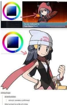 She hated that Ash left her, so she joined team Magma. Ironic since she has a Piplup... IDK if I want ruby or sapphire!!!! D: