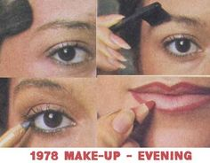 1978 Make-up Tutorial. The warm and natural glossy look is the new vogue. A Vintage makeup lesson for day and evening makeup looks 1970s Makeup Eyes, Silvester Make Up, Eye Parts, Vintage Makeup, Vintage Beauty, Makeup Lessons, Evening Makeup, Makeup Guide, Look Vintage