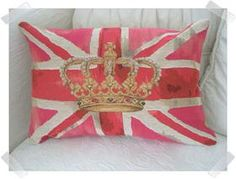Pink crown union jack vintage tapestry cushion
