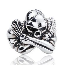 925 Sterling Silver Punk Pirate Captain Skull Ring For Men