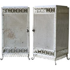 Pair of Painted Iron and Marble Top Bedside Tables, France, 1950s | From a unique collection of antique and modern night stands at https://www.1stdibs.com/furniture/tables/night-stands/