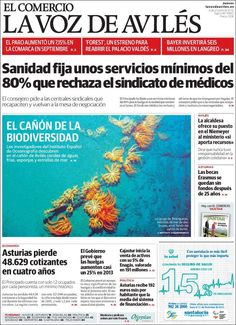 El Comercio Avilés Portadas De Periodicos Sanidad Portadas