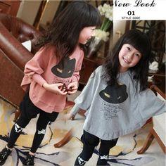 spring  autumn children long sleeve t-shirt  child girls batwing sleeve T-shirt girls clothing free shipping US $8.48 - 8.98
