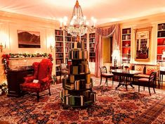 COTE DE TEXAS: The First White House Christmas for the New President: On the basement level, the library had a clever tree made of books.