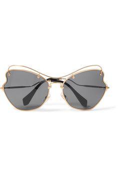 2a5c252f943e Miu Miu - Scenique cat-eye gold-tone sunglasses