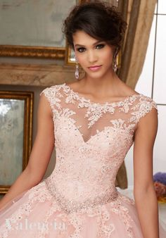 Crystal Beaded Lace Appliques on Tulle Ball Gown Quinceanera Dress Designed by Madeline Gardner. Matching Stole. Colors Available: Scarlet, Aqua, Blush, White - black and white dresses for juniors, purple dresses for juniors, lavender dresses for juniors *ad