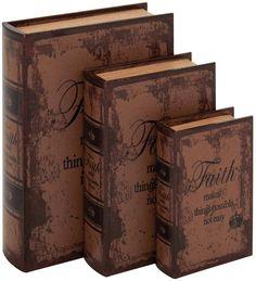 """UMA Inc Wd Lthr Book Box S/3 13"""", 11"""", 8""""H"""