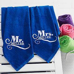Embroidered Wedding Beach Towel Set – Happy Couple #beach   Embroidered Wedding…