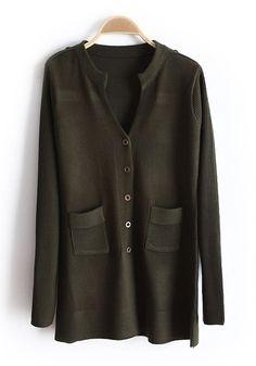 Green Pockets V-neck Single Breasted Knit Down Coat