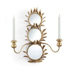 Matthew Frederick Gold Harting Mir Sconce - Hand Cut Metal Leaves Antique Gold Finish - Some Assembly Required. Mirror Candle Sconce, Sconce Lighting, Lighting Design, Antique Light Fixtures, Wall Candle Holders, Project, Best Candles, Luxury Home Decor, Decorative Accessories