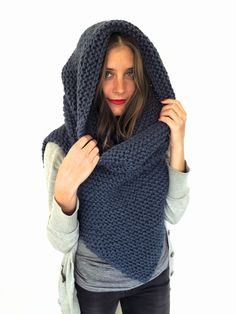 Chunky Soft Knit Poncho Scarf Cowl Hood All in por TwoOfWandsShop