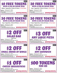 72 Best Chuck E Cheese Printable Coupons Free Tokens Images In 2019