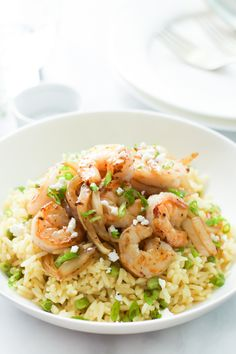 Rice with Balsamic Onions and Shrimp - Gluten free and super easy to make. Enjoy this delicious recipe. primaverakitchen.com