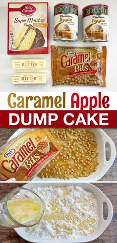Caramel Apple Dump Cake, Caramel Apples, Apple Dump Cakes, Dessert Cake Recipes, Easy Desserts, Delicious Desserts, Apple Cobbler, Apple Recipes, Fall Recipes