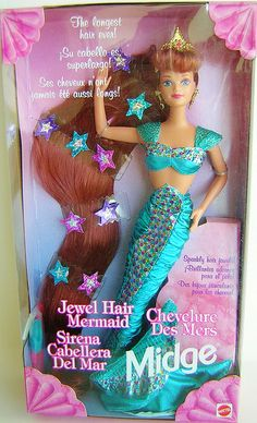 Jewel Hair Mermaid Barbie Midge OmG I used to have this ahhhhh memories! Barbie 1990, Barbie Box, Vintage Barbie Dolls, Barbie And Ken, Barbie Tumblr, Mermaid Barbie, Retro, Childhood Toys, Childhood Memories