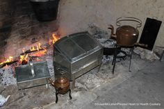 Recently I conducted my first workshop focused on the subject of tea.  This is a picture of the hearth with a bake kettle and tin bakers for preparing the food and copper kettles heating the water.    Visit my website at:   www.hearttohearthcookery.com