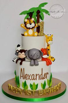 Jungle Safari Cake, Jungle Birthday Cakes, 2 Tier Birthday Cakes, Jungle Theme Cakes, Safari Theme Birthday, Animal Birthday Cakes, Safari Cakes, Baby Boy 1st Birthday Party, Animal Cakes