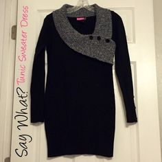 ⭐️ Black Tunic Sweater Dress The buttons are just for decoration, it's 23 inches long from under armpit to the hem. Lay flat to dry.  ❌No Trades ❌If it's sold elsewhere it will be deleted from here. ⭐️Sale was $60 Say What? Dresses Long Sleeve