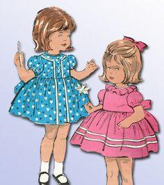 Vintage Advance toddler dress pattern art, 1960's.