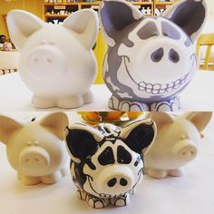 Before & after firing in the kiln! This skeleton piggy bank is too cute! Who is ready for Halloween?! || #Manassas #Bisque #Fire #Fun #Ceramics #Glaze #Skeleton #Halloween #Fall #Pottery #Painting #Gainesville #Haymarket #Bristow #PrinceWilliamCounty #Family #FamilyFun #BullRunPlaza #PaintYourOwnPottery