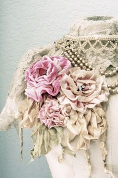 pearls, lace, satin, and velvet flower corsages (pretty bits 'n bobs)